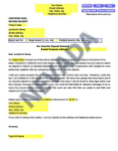 Nevada-security-deposit-demand-letter
