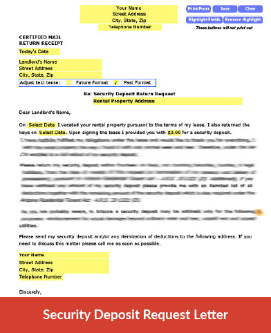 security deposit return request letter
