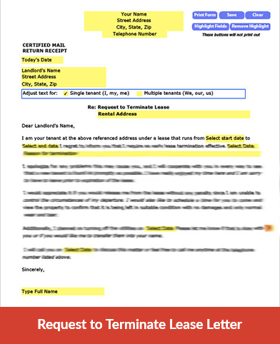 Request to Terminate Lease Letter